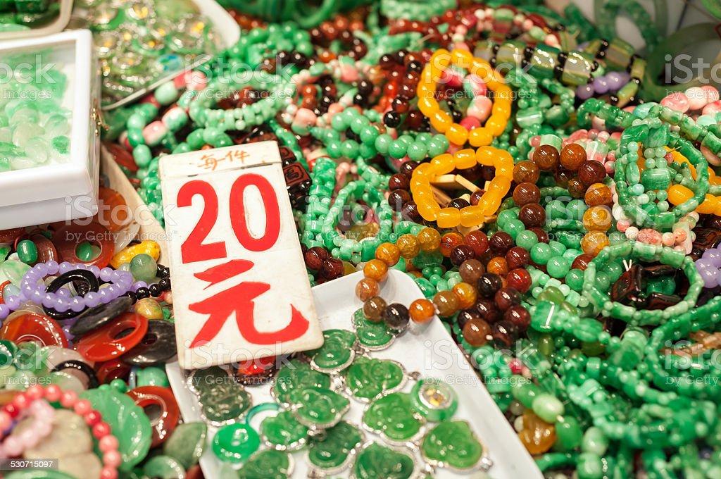 Fake jade jewelery, Hong Kong stock photo