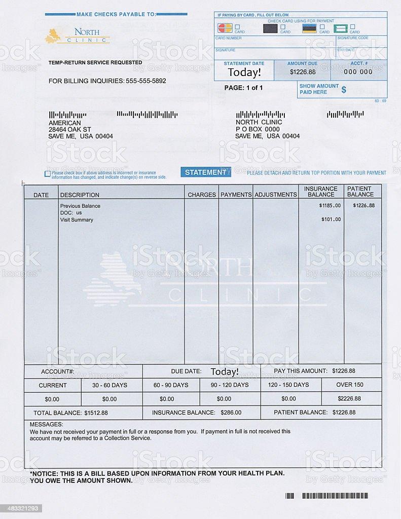 Fake Medical Bill stock photo