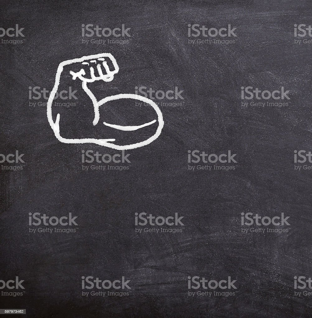 fake muscles drawn on the blackboard, foto royalty-free