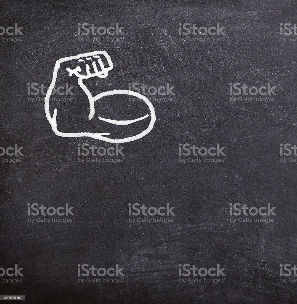 fake muscles drawn on the blackboard, - foto de acervo