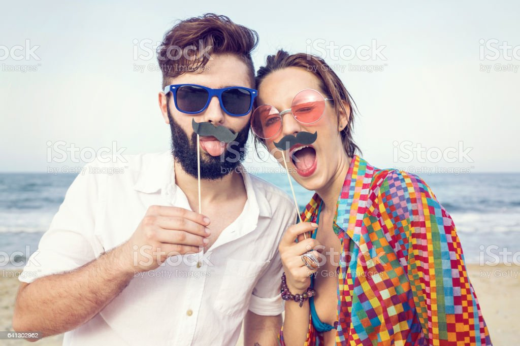 Fake mustache fun stock photo