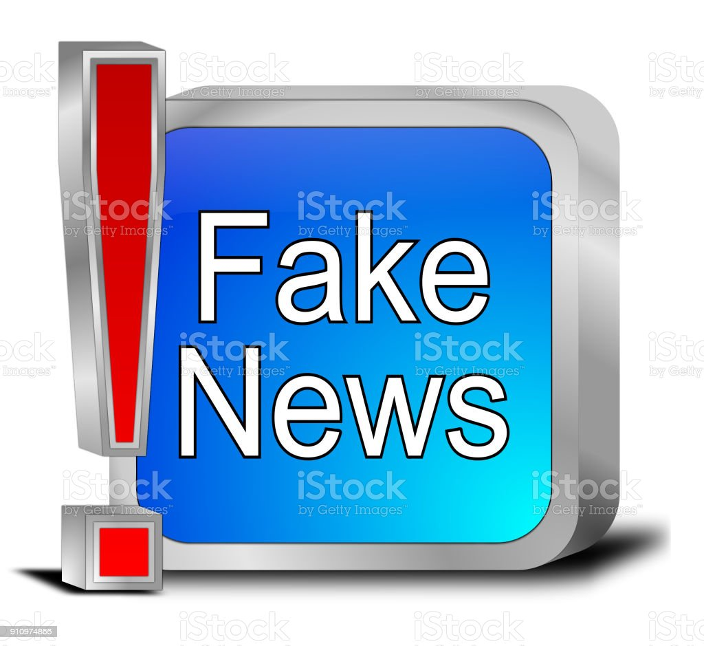 Fake News button - 3D illustration stock photo
