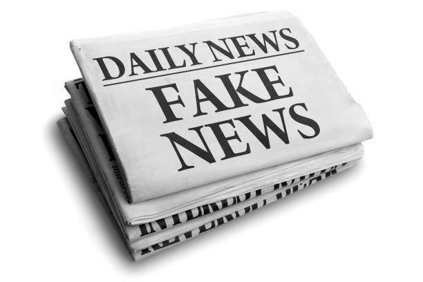 Fake news daily newspaper headline Daily news newspaper headline reading fake news concept for false event news headline front page stock pictures, royalty-free photos & images