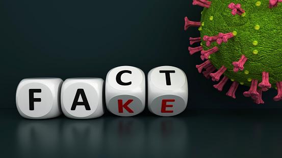 The facts and fake news around the coronavirus distinguish. 3d illustration.