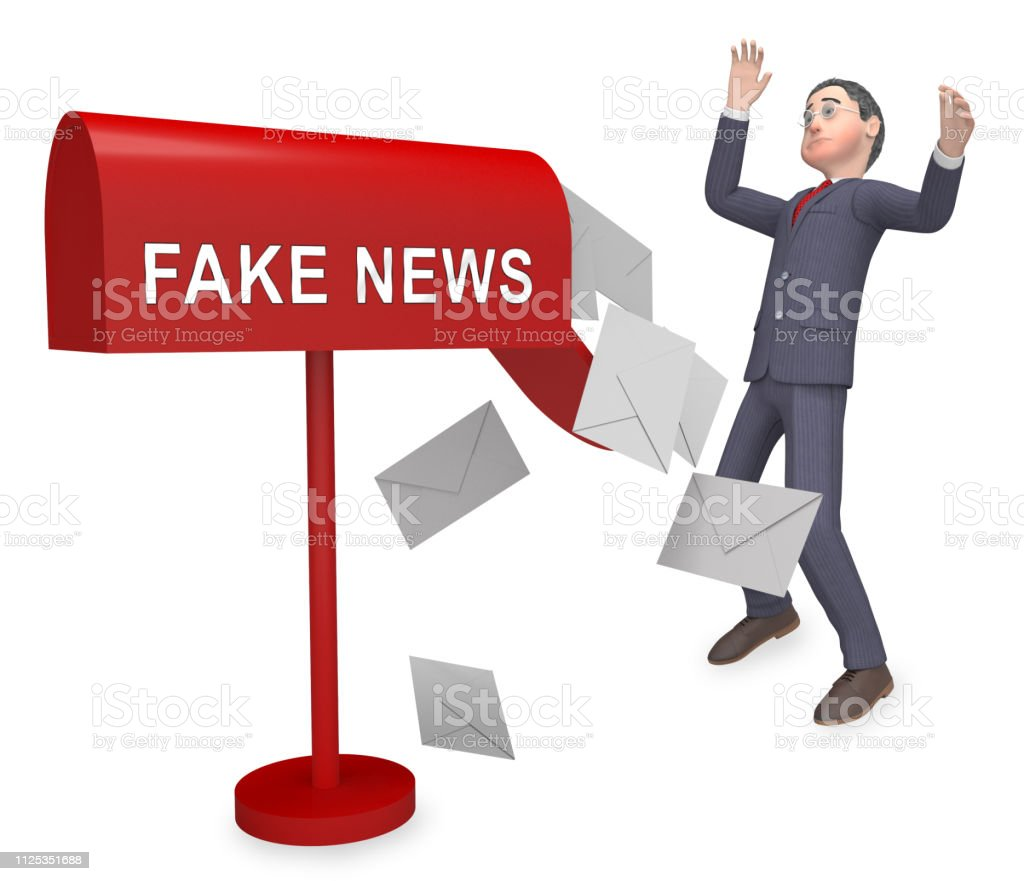Fake News Icon Letters Means Misinformation Or Disinformation. Online...