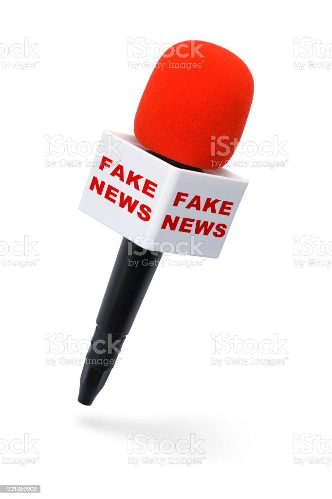 Fake News Microphone stock photo