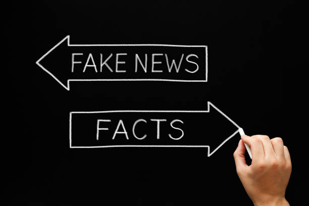 fake news or facts arrows concept - imitation stock photos and pictures
