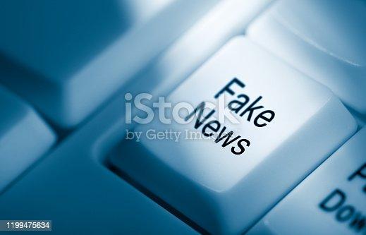 Fake News on computer keyboard