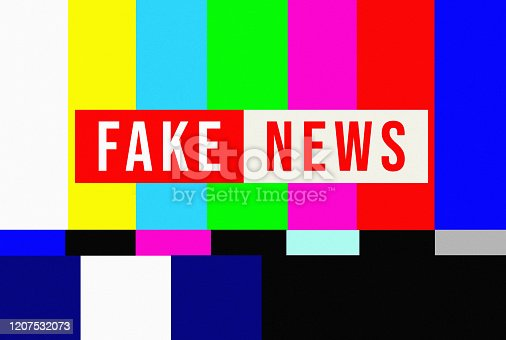 Fake News overlaid on vintage television test pattern.
