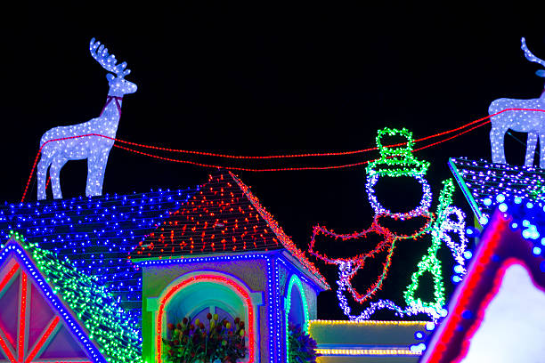 fake roof house with christmas lights stock photo - Christmas In Dominican Republic