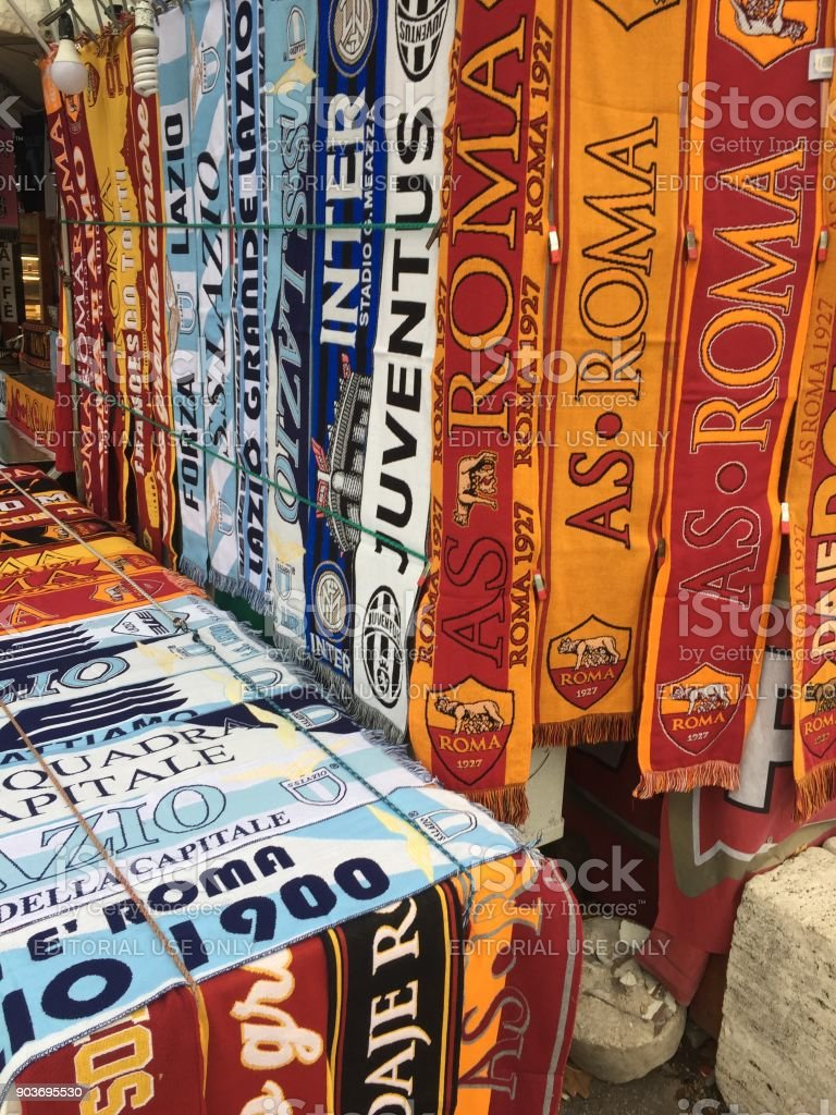 Fake scarves of Italian football teams stock photo
