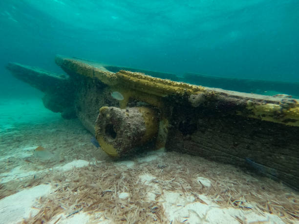 A fake shipwreck underwater in the Bahamas stock photo