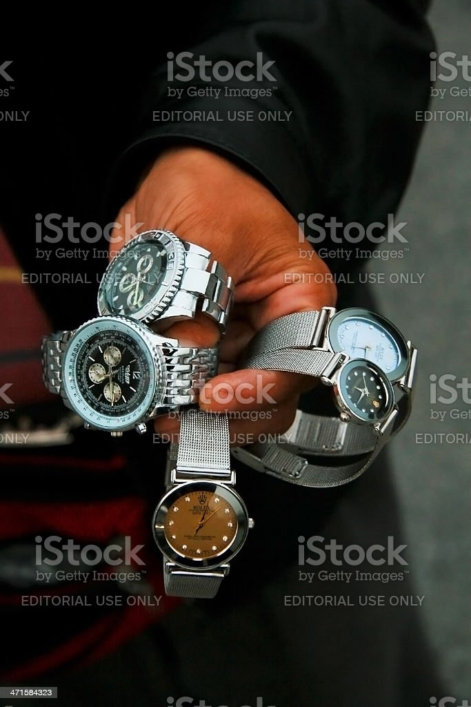 Fake watches stock photo