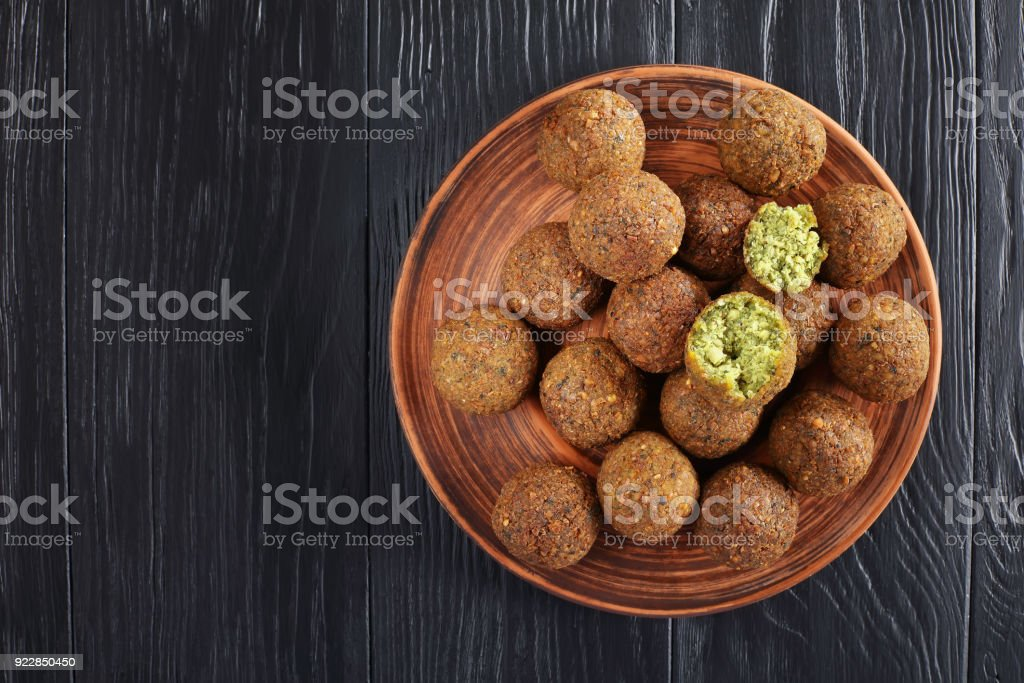Falafel balls on a clay plate stock photo