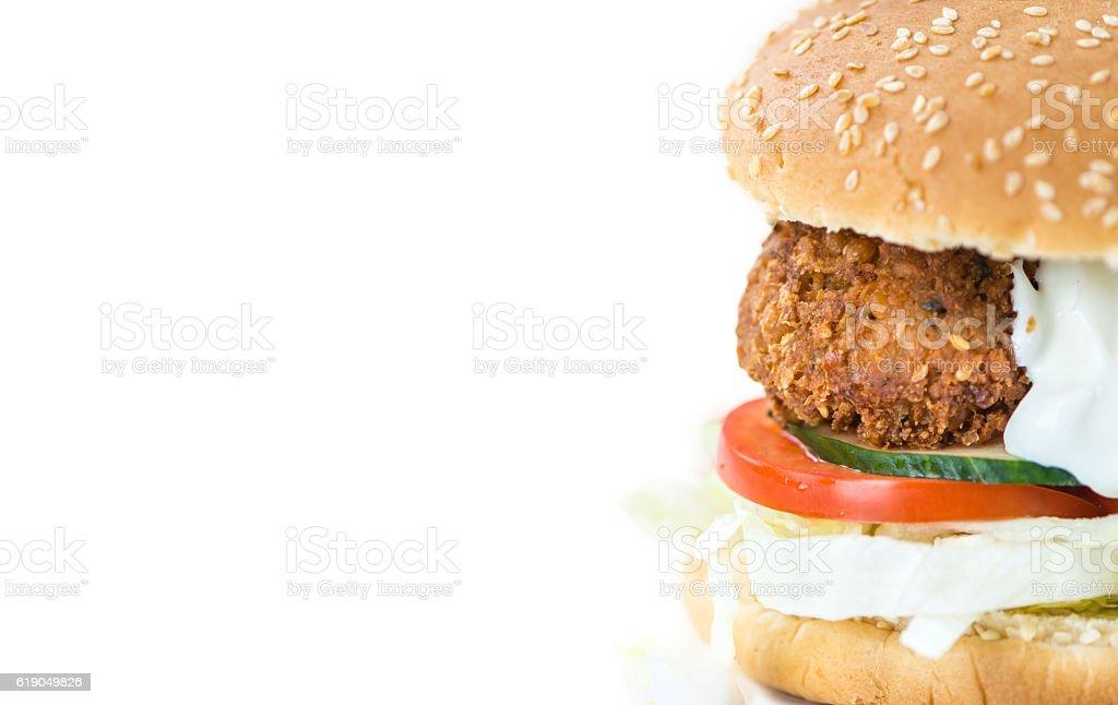 Falafel Burger isolated on white stock photo