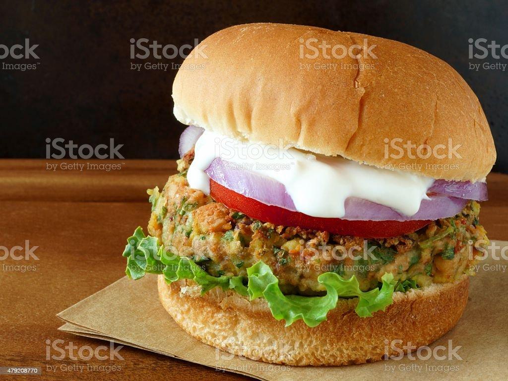 Falafel burger with tzatziki sauce stock photo