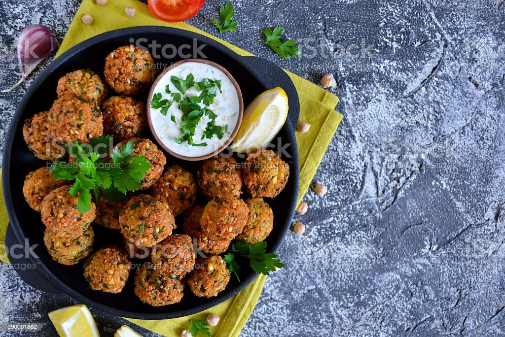 Falafel - deep fried balls of ground chickpeas stock photo