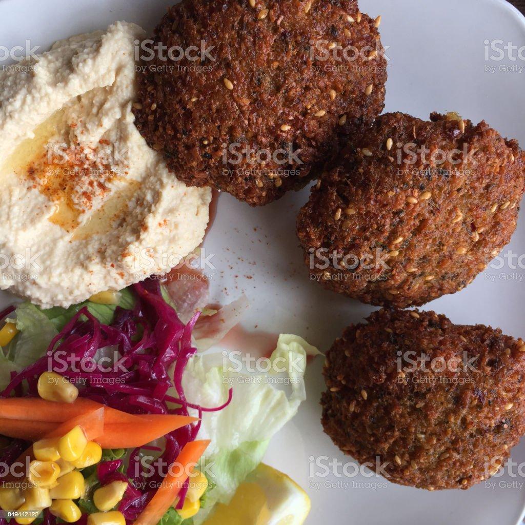 Falafel plate stock photo