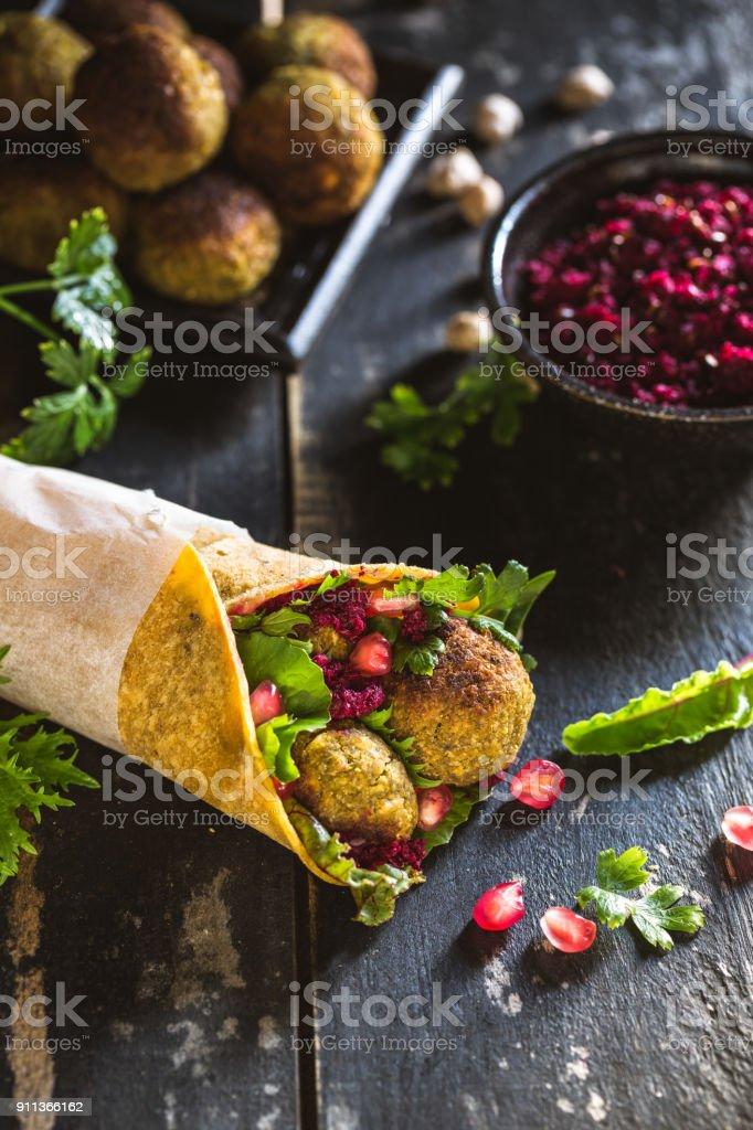 Falafel sandwhich stock photo