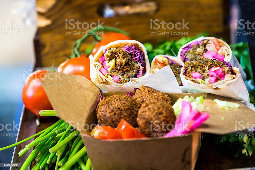 Falafel wraps and vegetarian food at Borough Market, London, UK stock photo