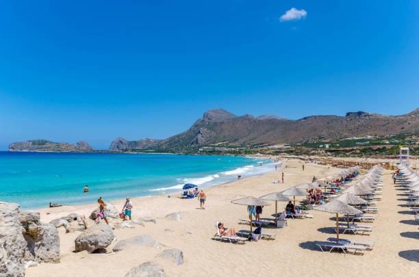 Falasarna beach, one of the most famous beaches of Crete stock photo