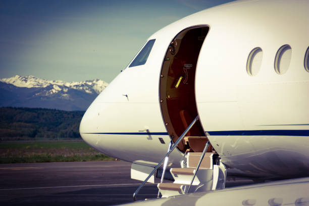 Falcon Business Jet waiting for Customers stock photo