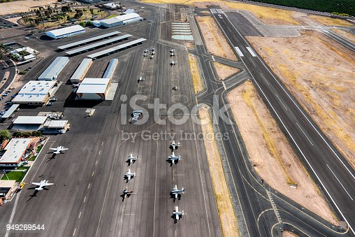 An aerial view of the tarmac and runway of the Falcon Field Airport, a municipal airport located in the city of Mesa, Arizona, just outside Phoenix.