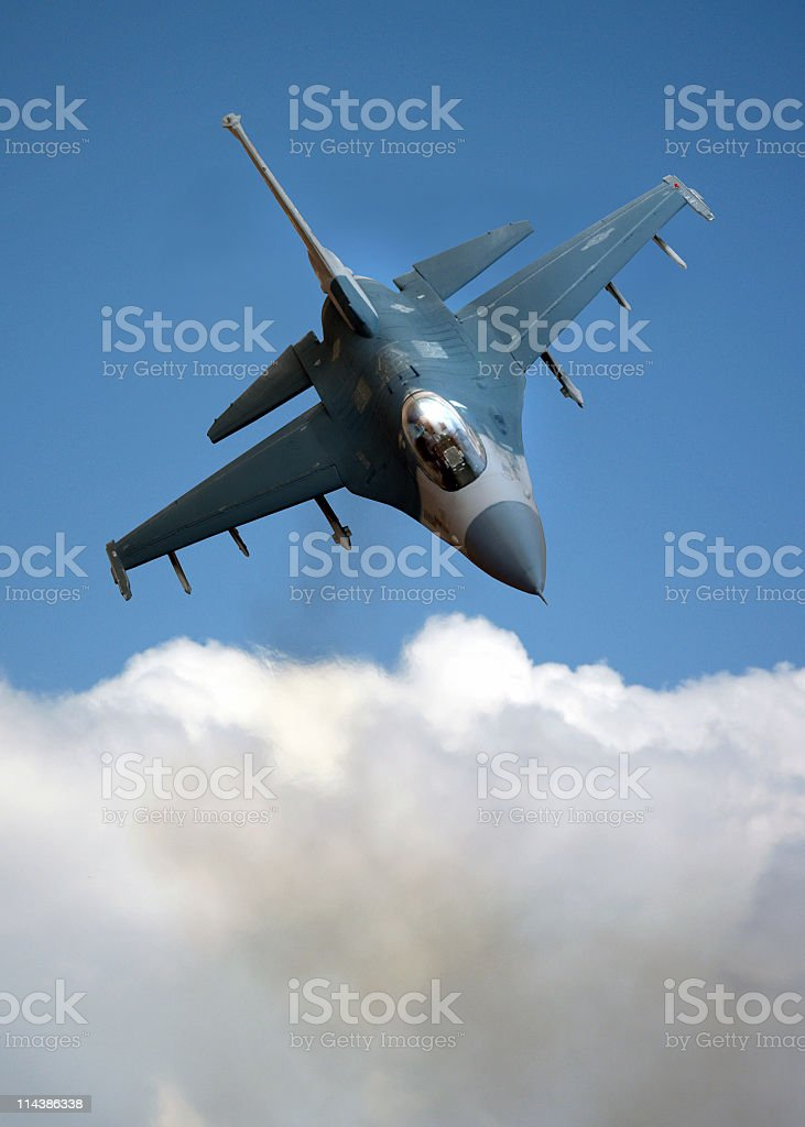 F-16 Falcon over Cloud royalty-free stock photo
