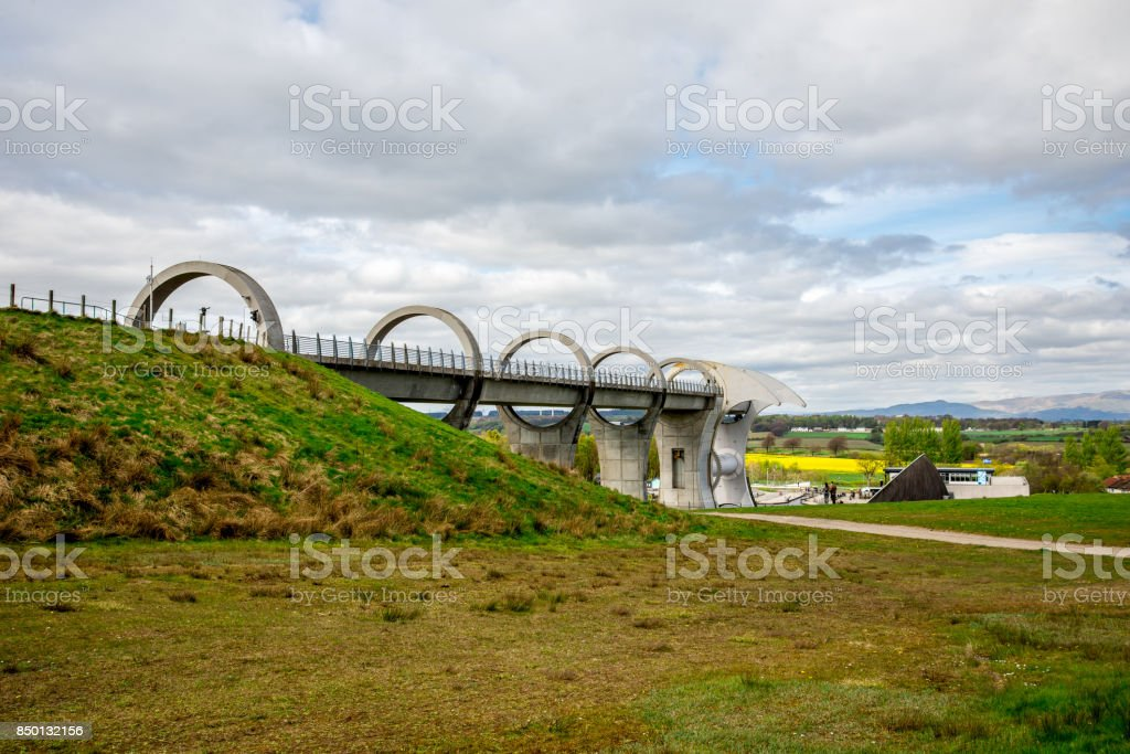 Falkirk Wheel aqueduct view in central Scotland stock photo