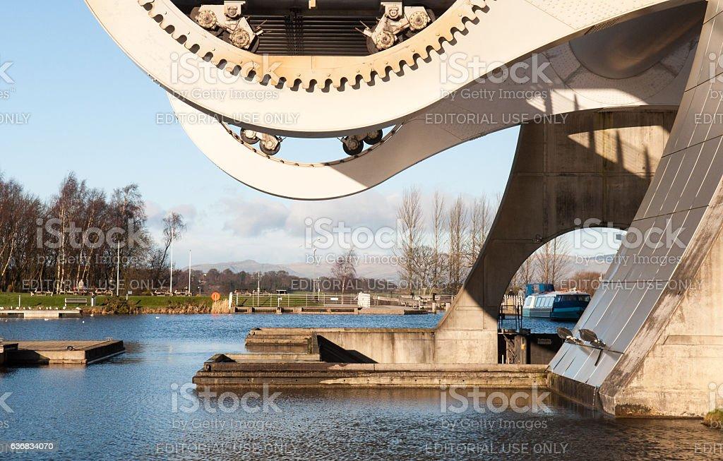 Falkirk Wheel canal boat lift stock photo