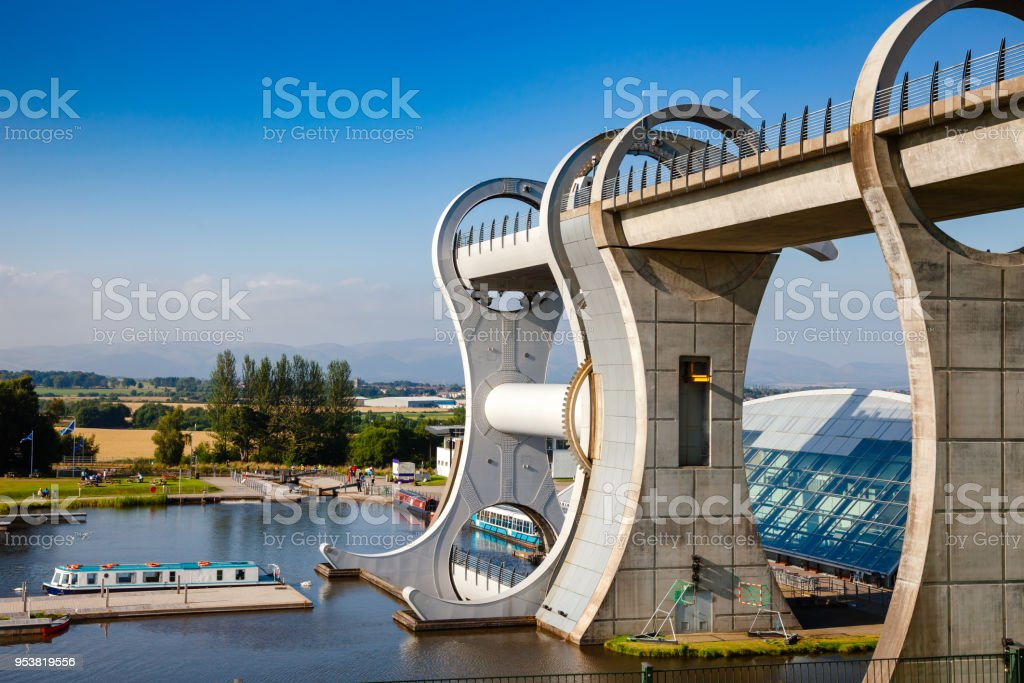 Falkirk Wheel connecting Forth and Clyde Canal with Union Canal Scotland UK stock photo