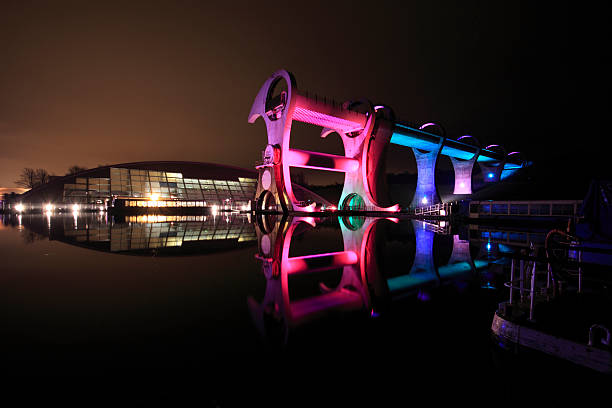 Falkirk Wheel illuminated at Night, Central Scotland. stock photo