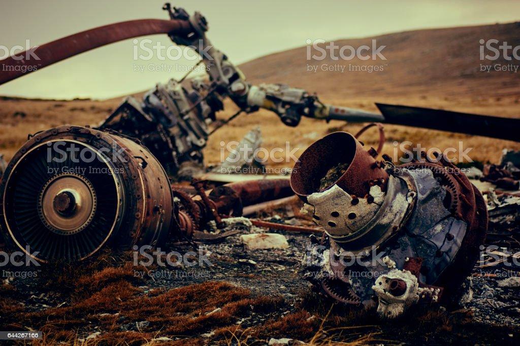 Local de acidente de helicóptero Chinook de Ilhas Falkland - foto de acervo