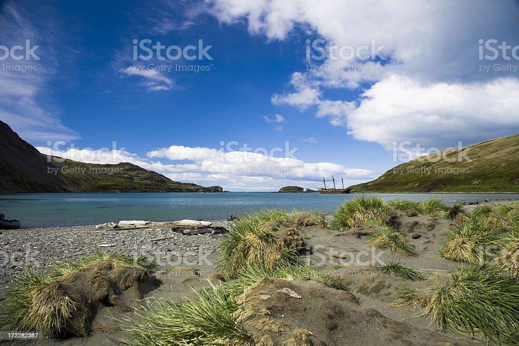 Falklands Coast with Ship royalty-free stock photo