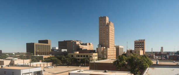 Fall Afternoon Blue Sky Lubbock Texas Downtown City Skyline stock photo