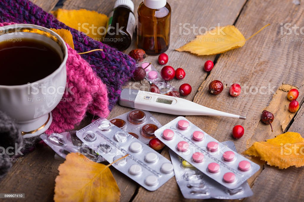 Fall and health care stock photo