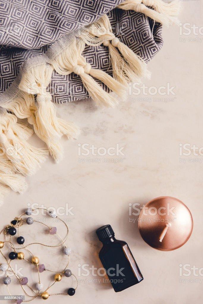 Fall and winter beauty and fashion flatlay stock photo