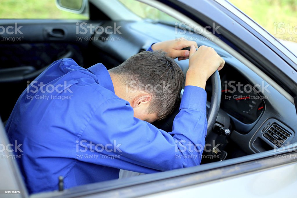 fall asleep in a car royalty-free stock photo