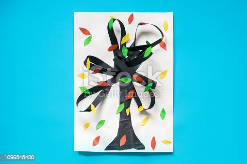 istock 3D fall autumn tree from multicolored paper and cardboard. Creative felt application projects for kids. Fun educational activities for children. Crafts; slime; art projects 1096545430
