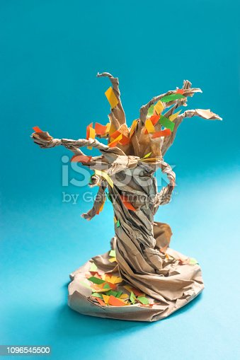 istock 3D fall autumn tree from multicolored paper and cardboard. Creative felt application projects for kids. Fun educational activities for children. Crafts; slime; art projects 1096545500