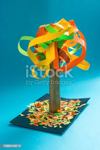 istock 3D fall autumn tree from multicolored paper and cardboard. Creative felt application projects for kids. Fun educational activities for children. Crafts; slime; art projects 1096545510