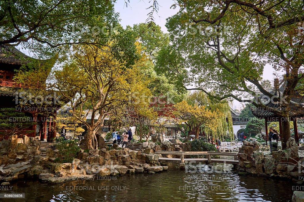 Fall, autumn weather in Yuyuan garden stock photo