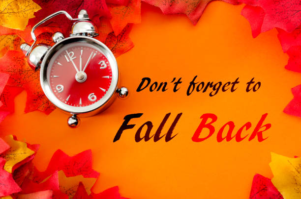 Fall back, the end of daylight savings time and turn clocks back on hour concept with a clock surrounded by dried yellow leaves with the text Don't forget to fall back Fall back, the end of daylight savings time and turn clocks back on hour concept with a clock surrounded by dried yellow leaves with the text Don't forget to fall back time zone stock pictures, royalty-free photos & images