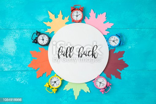 istock Fall back time change concept. 1054918956