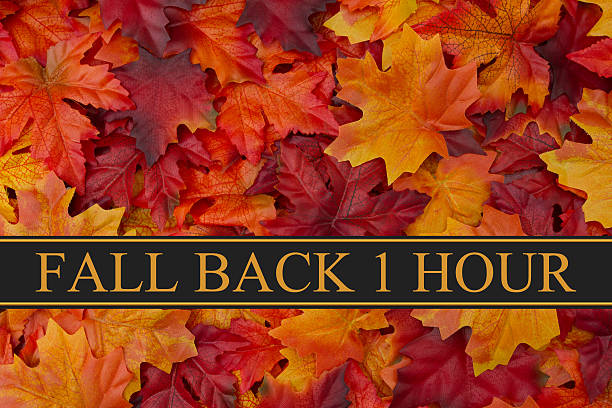 Fall Back Time Change Message Fall Back Time Change Message, Fall Leaves Background and text Fall Back 1 Hour daylight savings stock pictures, royalty-free photos & images