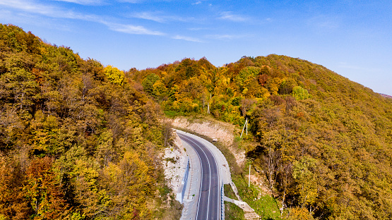 Fall background Aerial drone view of the road in a beautiful forest landscape with colorful leaves of trees. View from above