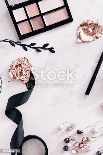 istock Fall beauty products flatlay on white marble 868303260