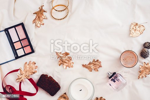 istock Fall beauty products from above on white 863912850