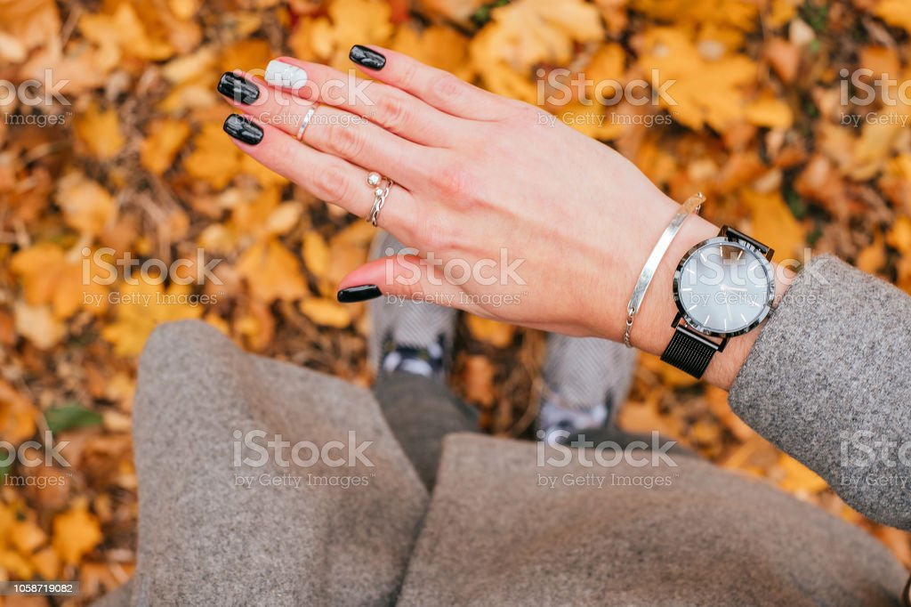 Fall black manicure stock photo