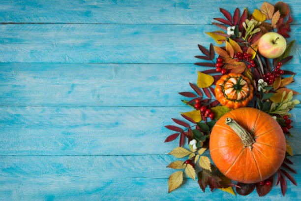 jesienna granica jabłek, jagód, dyń na niebieskim stole, skopiuj przestrzeń - zbierać plony zdjęcia i obrazy z banku zdjęć
